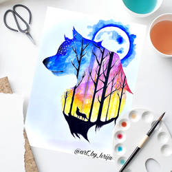 colorful wolf, 297 x 420 inch, hriju kirti singhal,297x420inch,thick paper,wildlife paintings,conceptual paintings,paintings for bedroom,paintings for kids room,paintings for school,paintings for bedroom,paintings for kids room,paintings for school,watercolor,GAL02262736780