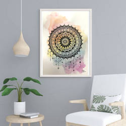 colorful mandala painting, 8 x 12 inch, hriju kirti singhal,8x12inch,thick paper,paintings,religious paintings,paintings for bedroom,paintings for office,paintings for bathroom,paintings for kids room,paintings for hotel,paintings for kitchen,paintings for school,paintings for hospital,watercolor,GAL02262736789