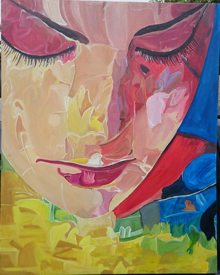 the colorful woman, 24 x 30 inch, vandana singh,figurative paintings,paintings for living room,canvas,oil paint,24x30inch,GAL012883680