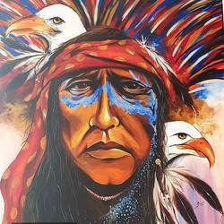 native american warrior , 48 x 52 inch, silpa ajith,48x52inch,canvas,paintings,conceptual paintings,portrait paintings,expressionism paintings,paintings for dining room,paintings for living room,paintings for bedroom,paintings for office,paintings for hotel,paintings for school,paintings for dining room,paintings for living room,paintings for bedroom,paintings for office,paintings for hotel,paintings for school,acrylic color,GAL01584636800