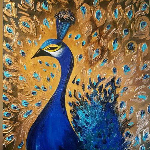 peacock, 24 x 36 inch, silpa ajith,24x36inch,canvas,paintings,wildlife paintings,paintings for dining room,paintings for living room,paintings for bedroom,paintings for office,paintings for bathroom,paintings for kids room,paintings for hotel,paintings for kitchen,paintings for school,paintings for hospital,acrylic color,GAL01584636803