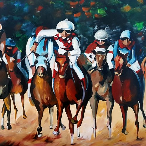 horse racing , 70 x 50 inch, silpa ajith,70x50inch,canvas,paintings,horse paintings,paintings for dining room,paintings for living room,paintings for bedroom,paintings for office,paintings for hotel,paintings for school,paintings for hospital,paintings for dining room,paintings for living room,paintings for bedroom,paintings for office,paintings for hotel,paintings for school,paintings for hospital,acrylic color,GAL01584636805