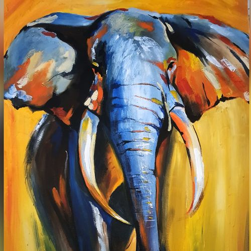 african elephant , 24 x 36 inch, silpa ajith,24x36inch,canvas,paintings,wildlife paintings,elephant paintings,paintings for dining room,paintings for living room,paintings for bedroom,paintings for office,paintings for kids room,paintings for hotel,paintings for school,paintings for hospital,acrylic color,GAL01584636806