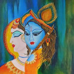 devotion, 18 x 24 inch, sudeshna  chatterjee,18x24inch,canvas,paintings,folk art paintings,radha krishna paintings,love paintings,paintings for dining room,paintings for living room,paintings for bedroom,paintings for office,acrylic color,GAL02448736809