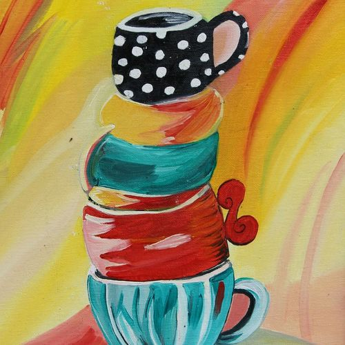 tea time, 14 x 18 inch, vandana singh,still life paintings,paintings for dining room,canvas board,oil paint,14x18inch,GAL012883681
