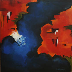 pangea volume -1, 30 x 30 inch, vignesh kumar,abstract paintings,paintings for office,canvas,acrylic color,30x30inch,GAL02503682