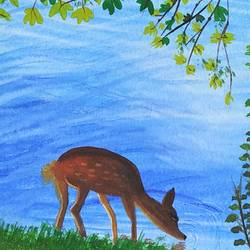 deer having peaceful moment at lakeside., 6 x 8 inch, sameeksha  patil,6x8inch,drawing paper,paintings,wildlife paintings,nature paintings | scenery paintings,animal paintings,paintings for dining room,paintings for living room,paintings for bedroom,paintings for kids room,paintings for hotel,paintings for kitchen,paintings for school,paintings for hospital,poster color,watercolor,GAL02515436821
