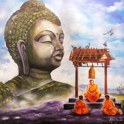 buddha and monk child 13, 36 x 36 inch, arjun das,36x36inch,canvas,paintings,buddha paintings,paintings for dining room,paintings for living room,paintings for office,paintings for hotel,paintings for hospital,acrylic color,GAL011236822
