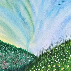 beautiful meadows., 6 x 8 inch, sameeksha  patil,6x8inch,drawing paper,paintings,nature paintings | scenery paintings,paintings for dining room,paintings for living room,paintings for bedroom,paintings for office,paintings for hotel,paintings for hospital,poster color,watercolor,GAL02515436825