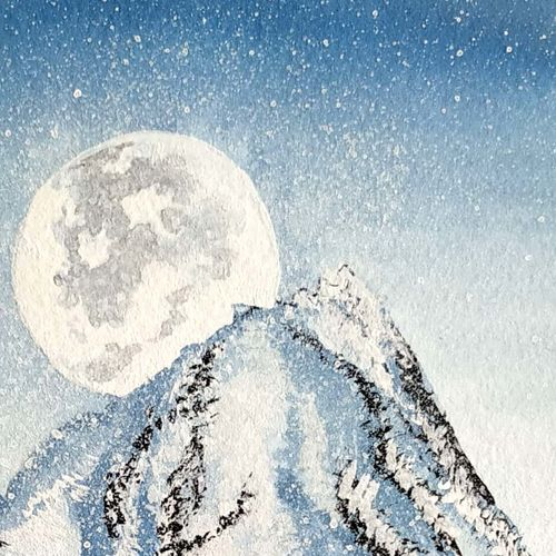 mountains touching the moon., 6 x 8 inch, sameeksha  patil,6x8inch,drawing paper,paintings,nature paintings | scenery paintings,paintings for dining room,paintings for living room,paintings for bedroom,paintings for office,paintings for hotel,paintings for kitchen,paintings for hospital,poster color,watercolor,GAL02515436827
