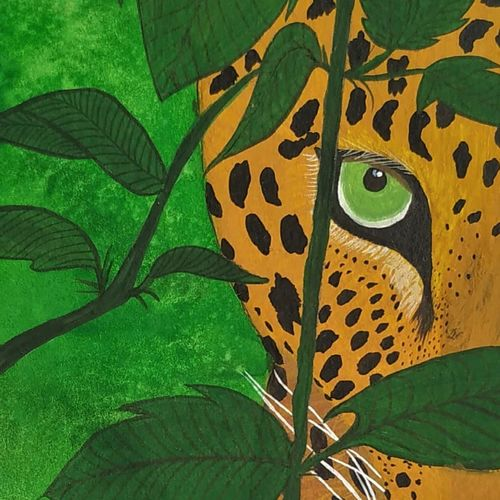the evanescent leopard., 6 x 8 inch, sameeksha  patil,6x8inch,drawing paper,paintings,wildlife paintings,nature paintings | scenery paintings,animal paintings,paintings for dining room,paintings for living room,paintings for office,paintings for hotel,poster color,watercolor,GAL02515436828