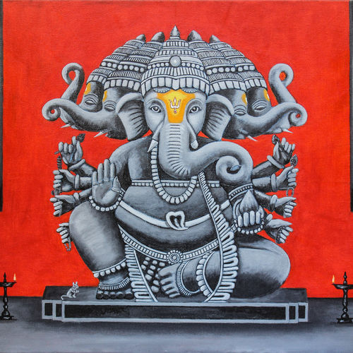 lord ganesha (heramba ganapati), 24 x 18 inch, suhas varpe,24x18inch,canvas,paintings,figurative paintings,modern art paintings,religious paintings,art deco paintings,ganesha paintings | lord ganesh paintings,acrylic color,GAL01991536831