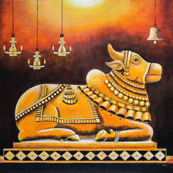 nandi , 24 x 18 inch, suhas varpe,24x18inch,canvas,paintings,religious paintings,still life paintings,art deco paintings,expressionism paintings,impressionist paintings,contemporary paintings,acrylic color,GAL01991536832