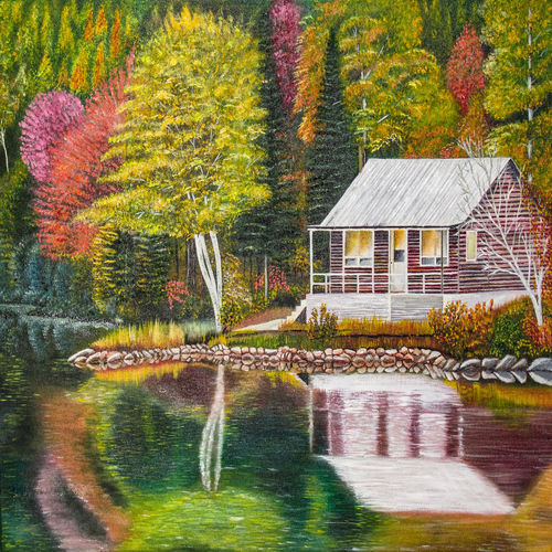 forest house, 24 x 18 inch, suhas varpe,24x18inch,canvas,paintings,landscape paintings,nature paintings | scenery paintings,art deco paintings,photorealism,realistic paintings,paintings for dining room,paintings for living room,paintings for bedroom,paintings for office,paintings for hotel,oil color,GAL01991536834