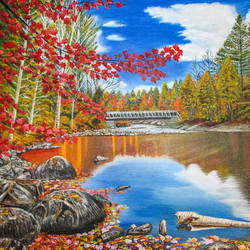 autumn landscape, 20 x 16 inch, suhas varpe,20x16inch,canvas,paintings,landscape paintings,nature paintings | scenery paintings,realistic paintings,paintings for dining room,paintings for living room,paintings for bedroom,paintings for office,paintings for hotel,paintings for hospital,oil color,GAL01991536835