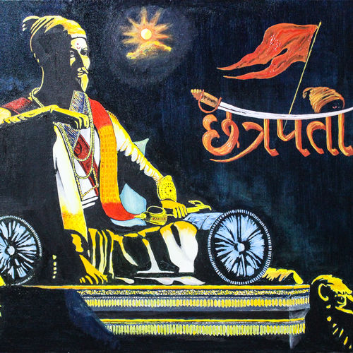 chatrapati shivaji maharaj, 24 x 18 inch, suhas varpe,24x18inch,canvas,paintings,figurative paintings,expressionism paintings,photorealism,contemporary paintings,realistic paintings,paintings for dining room,paintings for living room,paintings for office,paintings for hotel,paintings for school,paintings for hospital,oil color,GAL01991536836