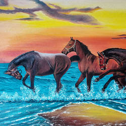 three horses running on a beach, 24 x 16 inch, suhas varpe,24x16inch,canvas,paintings,wildlife paintings,landscape paintings,realism paintings,animal paintings,contemporary paintings,realistic paintings,horse paintings,paintings for dining room,paintings for living room,paintings for bedroom,paintings for office,paintings for hotel,paintings for school,paintings for dining room,paintings for living room,paintings for bedroom,paintings for office,paintings for hotel,paintings for school,oil color,GAL01991536837
