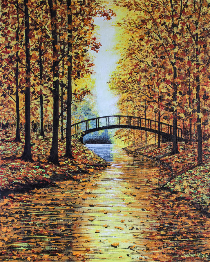 autumn landscape, 16 x 20 inch, suhas varpe,16x20inch,canvas board,paintings,landscape paintings,nature paintings | scenery paintings,photorealism,realism paintings,contemporary paintings,realistic paintings,paintings for dining room,paintings for living room,paintings for bedroom,paintings for office,paintings for bathroom,paintings for school,paintings for hospital,acrylic color,GAL01991536838