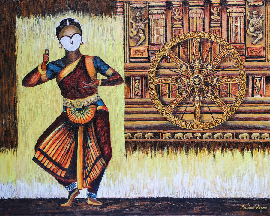 bharatnatyam, 20 x 16 inch, suhas varpe,20x16inch,canvas board,paintings,figurative paintings,modern art paintings,art deco paintings,expressionism paintings,impressionist paintings,photorealism paintings,contemporary paintings,paintings for dining room,paintings for living room,paintings for hotel,paintings for school,acrylic color,GAL01991536839