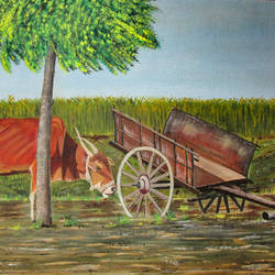 village bullock cart, 30 x 20 inch, suhas varpe,30x20inch,canvas board,paintings,wildlife paintings,landscape paintings,nature paintings | scenery paintings,photorealism paintings,photorealism,animal paintings,contemporary paintings,realistic paintings,paintings for dining room,paintings for living room,paintings for school,acrylic color,oil color,GAL01991536841