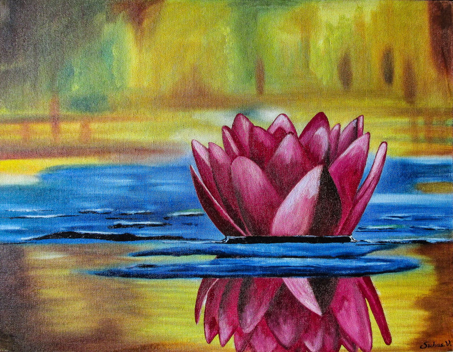 the lotus, 18 x 14 inch, suhas varpe,18x14inch,canvas board,paintings,flower paintings,nature paintings | scenery paintings,art deco paintings,photorealism,paintings for dining room,paintings for living room,paintings for bedroom,paintings for office,oil color,GAL01991536843
