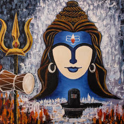 lord shiva (adiyogi), 20 x 16 inch, suhas varpe,20x16inch,canvas board,paintings,abstract paintings,figurative paintings,modern art paintings,religious paintings,expressionism paintings,impressionist paintings,contemporary paintings,paintings for dining room,paintings for living room,acrylic color,GAL01991536849
