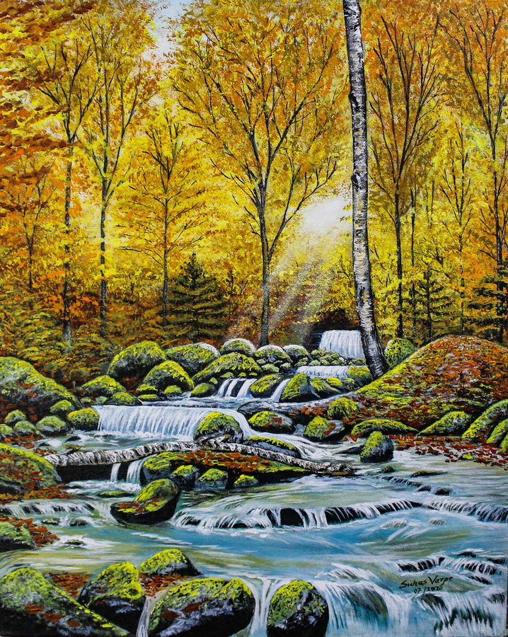 landscape- musical waterfall, 16 x 20 inch, suhas varpe,16x20inch,canvas board,paintings,landscape paintings,nature paintings | scenery paintings,art deco paintings,photorealism,contemporary paintings,realistic paintings,water fountain paintings,paintings for dining room,paintings for living room,paintings for bedroom,paintings for office,paintings for hotel,acrylic color,GAL01991536852