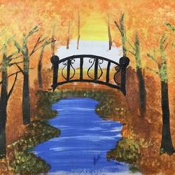 autumn landscape painting, 12 x 17 inch, tanesha gupta,12x17inch,cartridge paper,paintings,cityscape paintings,landscape paintings,modern art paintings,acrylic color,graphite pencil,paper,GAL0355336856