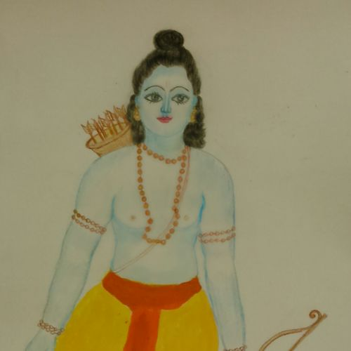 rama, 8 x 12 inch, geethanjali krishna,8x12inch,drawing paper,paintings,religious paintings,mixed media,GAL02511436857