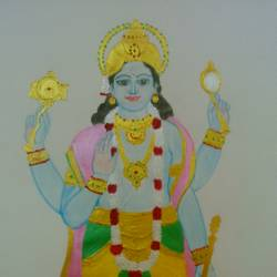 lord vishnu, 12 x 17 inch, geethanjali krishna,12x17inch,cartridge paper,paintings,religious paintings,paintings for living room,mixed media,paper,GAL02511436858