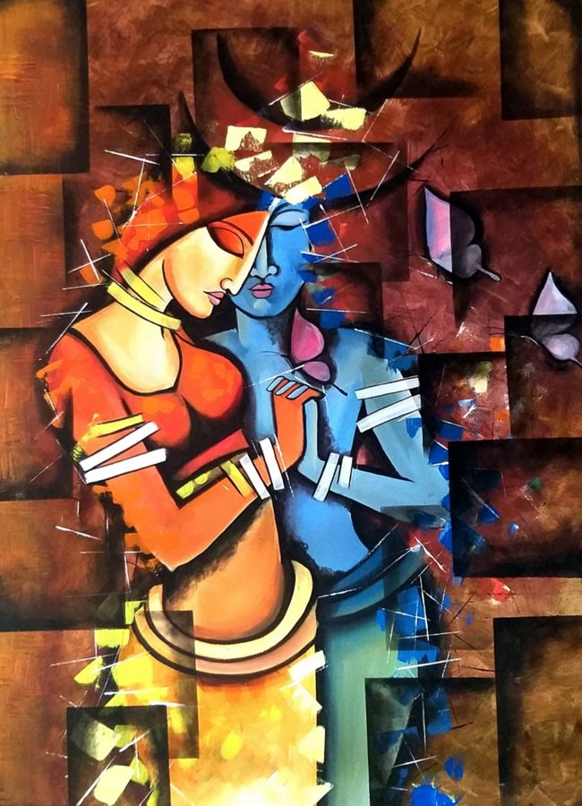 lovers, 30 x 40 inch, aruna sharma,30x40inch,canvas,paintings,abstract paintings,figurative paintings,modern art paintings,conceptual paintings,religious paintings,portrait paintings,abstract expressionism paintings,art deco paintings,cubism paintings,expressionism paintings,illustration paintings,impressionist paintings,portraiture,realism paintings,radha krishna paintings,realistic paintings,love paintings,paintings for dining room,paintings for living room,paintings for bedroom,paintings for office,paintings for hotel,acrylic color,oil color,GAL01442336862