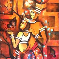 radha krishana, 30 x 40 inch, aruna sharma,30x40inch,canvas,paintings,abstract paintings,figurative paintings,folk art paintings,modern art paintings,conceptual paintings,religious paintings,portrait paintings,abstract expressionism paintings,art deco paintings,cubism paintings,illustration paintings,portraiture,realism paintings,radha krishna paintings,realistic paintings,love paintings,paintings for dining room,paintings for living room,paintings for bedroom,paintings for office,paintings for bathroom,paintings for hotel,paintings for kitchen,paintings for school,paintings for hospital,acrylic color,oil color,GAL01442336869