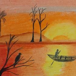 sunset, 8 x 12 inch, geethanjali krishna,8x12inch,drawing paper,paintings,nature paintings | scenery paintings,paintings for dining room,paintings for living room,paintings for bedroom,paintings for office,paintings for dining room,paintings for living room,paintings for bedroom,paintings for office,pastel color,GAL02511436875