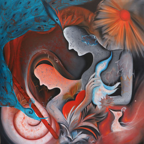 story of adam and eve 3, 30 x 30 inch, shivani mathur,30x30inch,canvas,abstract paintings,paintings for dining room,paintings for living room,paintings for bedroom,paintings for office,acrylic color,GAL0982736882