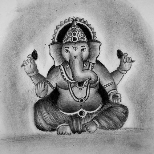 ganesh drawing, 10 x 12 inch, niket busa,10x12inch,ivory sheet,drawings,ganesha drawings,paintings for dining room,paintings for living room,charcoal,pencil color,paper,GAL02545736894