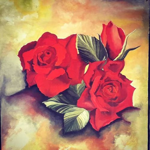 roses - sign of love, 19 x 24 inch, rachita bhaumik ,19x24inch,canvas,flower paintings,nature paintings   scenery paintings,paintings for dining room,paintings for living room,paintings for bedroom,paintings for office,paintings for dining room,paintings for living room,paintings for bedroom,paintings for office,acrylic color,GAL02099636895