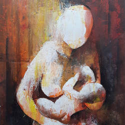 mother and child, 12 x 16 inch, rajaram. s,12x16inch,fabriano sheet,abstract paintings,figurative paintings,acrylic color,GAL02517036896