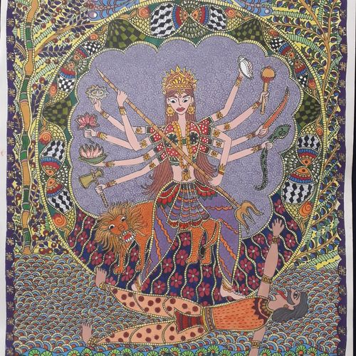 dashabhuja durga-the destroyer, 12 x 17 inch, vrushali kaul,12x17inch,drawing paper,paintings,madhubani paintings | madhubani art,paintings for living room,paintings for hotel,watercolor,GAL02545236897