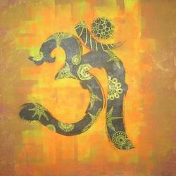 om, 36 x 36 inch, mohi jaya,paintings for office,religious paintings,canvas,acrylic color,36x36inch,GAL0157369
