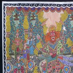 vishnu avatar- narsimha, 12 x 17 inch, vrushali kaul,12x17inch,drawing paper,paintings,madhubani paintings | madhubani art,paintings for dining room,paintings for living room,paintings for office,paintings for hotel,watercolor,GAL02545236902