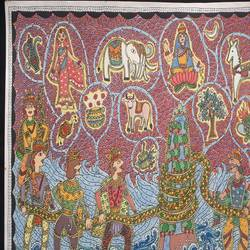 vishnu avatar- kurma, samudra manthan, 12 x 17 inch, vrushali kaul,12x17inch,handmade paper,paintings,madhubani paintings | madhubani art,paintings for dining room,paintings for living room,paintings for office,paintings for hotel,watercolor,GAL02545236903