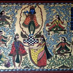 krishna series- draupadi lajja rakshan, 12 x 17 inch, vrushali kaul,12x17inch,drawing paper,paintings,madhubani paintings | madhubani art,paintings for dining room,paintings for living room,paintings for office,paintings for hotel,watercolor,GAL02545236904