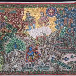 krishna series- moksha to arjuna trees, 12 x 17 inch, vrushali kaul,12x17inch,drawing paper,paintings,madhubani paintings | madhubani art,paintings for dining room,paintings for living room,paintings for bedroom,paintings for office,paintings for kids room,paintings for hotel,watercolor,GAL02545236905