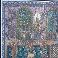 krishna series- journey from makhan chor to gopal, 12 x 17 inch, vrushali kaul,12x17inch,drawing paper,paintings,madhubani paintings | madhubani art,paintings for dining room,paintings for living room,paintings for office,paintings for hotel,watercolor,GAL02545236906