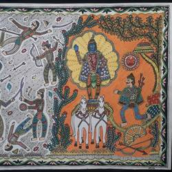 krishna series- geeta updesh, 12 x 17 inch, vrushali kaul,12x17inch,drawing paper,paintings,madhubani paintings | madhubani art,paintings for dining room,paintings for living room,paintings for bedroom,paintings for office,paintings for hotel,paintings for school,watercolor,GAL02545236908