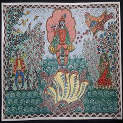 krishna series- kaliya daman, 12 x 17 inch, vrushali kaul,12x17inch,drawing paper,paintings,madhubani paintings | madhubani art,paintings for dining room,paintings for living room,paintings for office,paintings for kids room,paintings for hotel,paintings for hospital,watercolor,GAL02545236911
