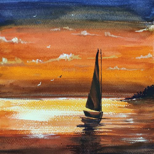 sunset, 8 x 11 inch, shankhadeep  mondal,8x11inch,brustro watercolor paper,paintings,landscape paintings,nature paintings | scenery paintings,paintings for dining room,paintings for living room,paintings for bedroom,paintings for office,paintings for bathroom,paintings for kids room,paintings for hotel,paintings for kitchen,paintings for school,paintings for hospital,watercolor,GAL01403036917