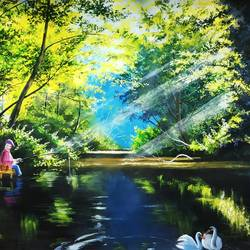 pleasent lake, 15 x 22 inch, sourabh karikatti,15x22inch,canvas,paintings,landscape paintings,nature paintings | scenery paintings,paintings for dining room,paintings for living room,paintings for bedroom,paintings for hotel,paintings for school,acrylic color,paper,GAL02521436919