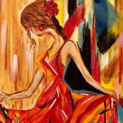 #flamenco, 14 x 14 inch, deepti  sinha,14x14inch,canvas,abstract paintings,paintings for bedroom,paintings for bedroom,acrylic color,GAL02521136922
