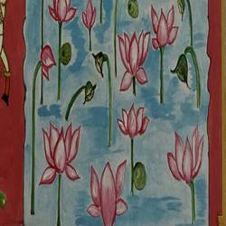 lotus talai, 12 x 17 inch, anjali mewada,12x17inch,thick paper,paintings,art deco paintings,paintings for dining room,paintings for living room,paintings for bedroom,paintings for office,paintings for hotel,acrylic color,paper,GAL02545536923